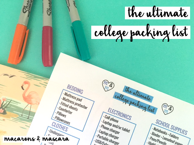 college girl's ultimate college packing list